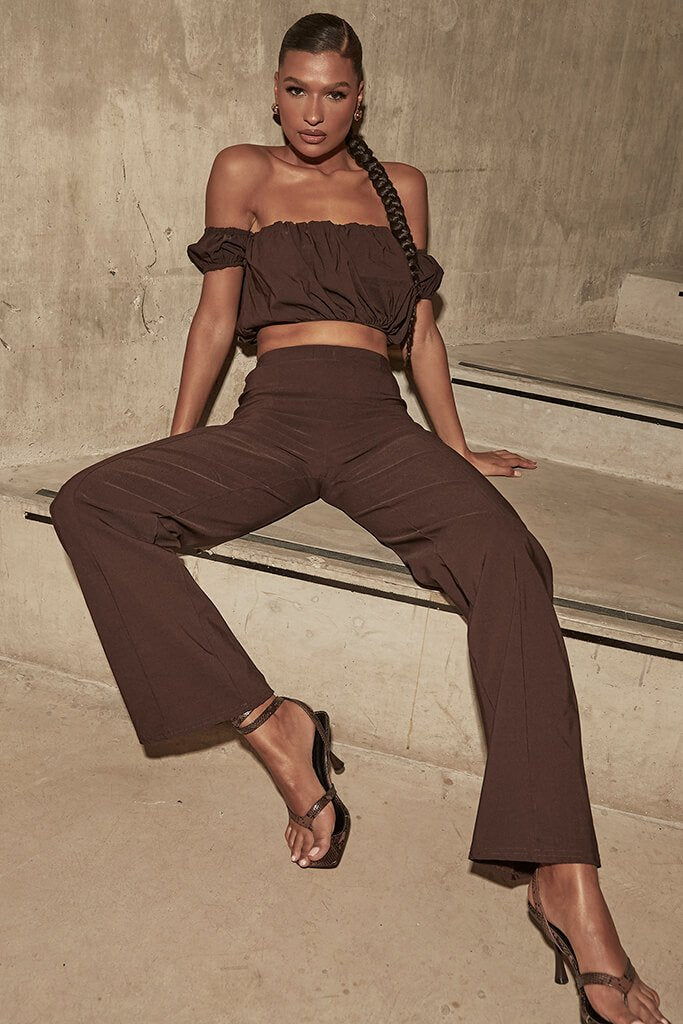 Chocolate Benagline Straight Leg Trouser
