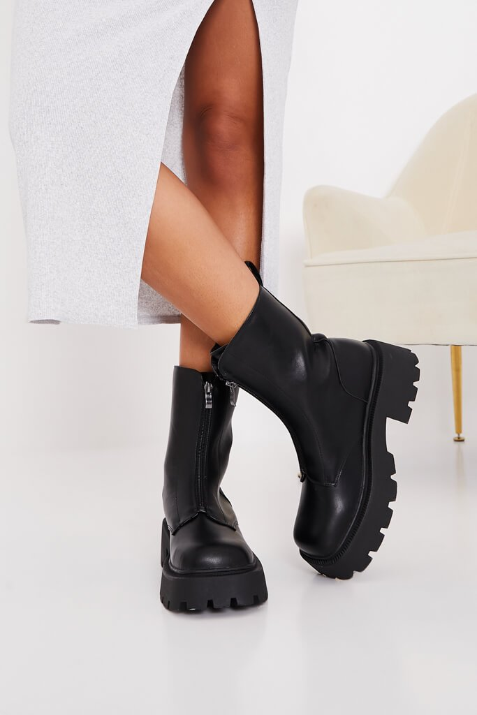 Black Zip Front Chunky Chelsea Boots