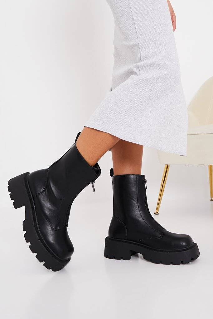 Black Zip Front Chunky Chelsea Boots view 2