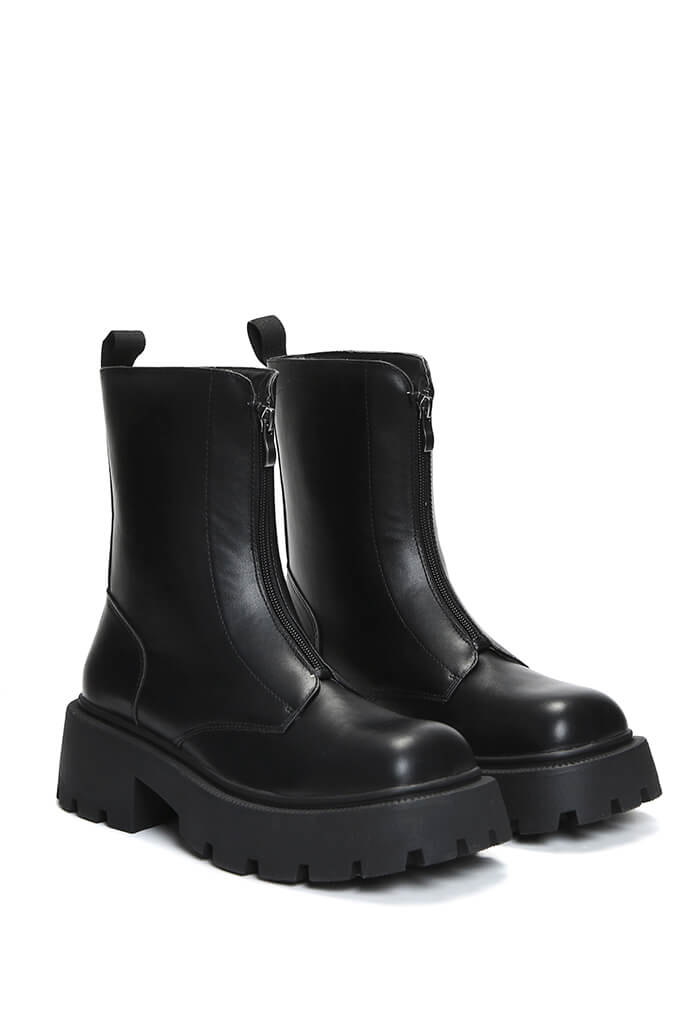 Black Zip Front Chunky Chelsea Boots view 4