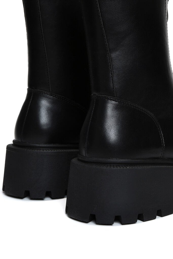 Black Zip Front Chunky Chelsea Boots view 5