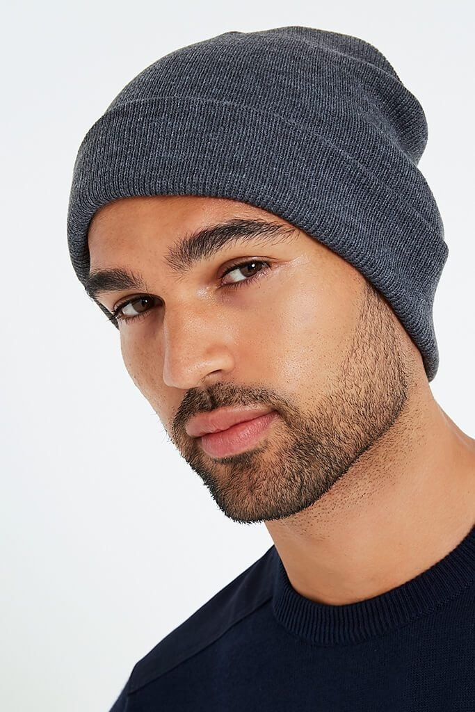 Charcoal Men's Knitted Turn Up Beanie Hat view 2