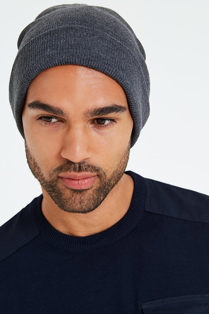 Charcoal Men's Knitted Turn Up Beanie Hat