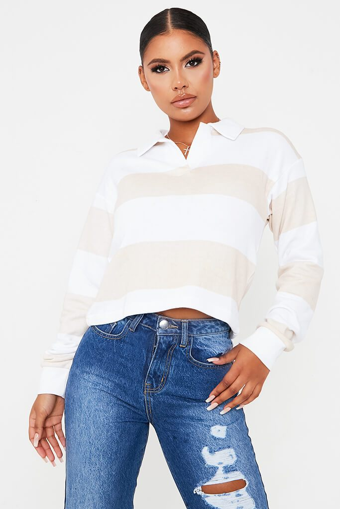 Stone Colour Block Striped Long Sleeve Rugby Top