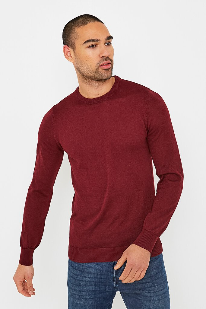Burgundy Men's Plain Ribbed Neck Jumper