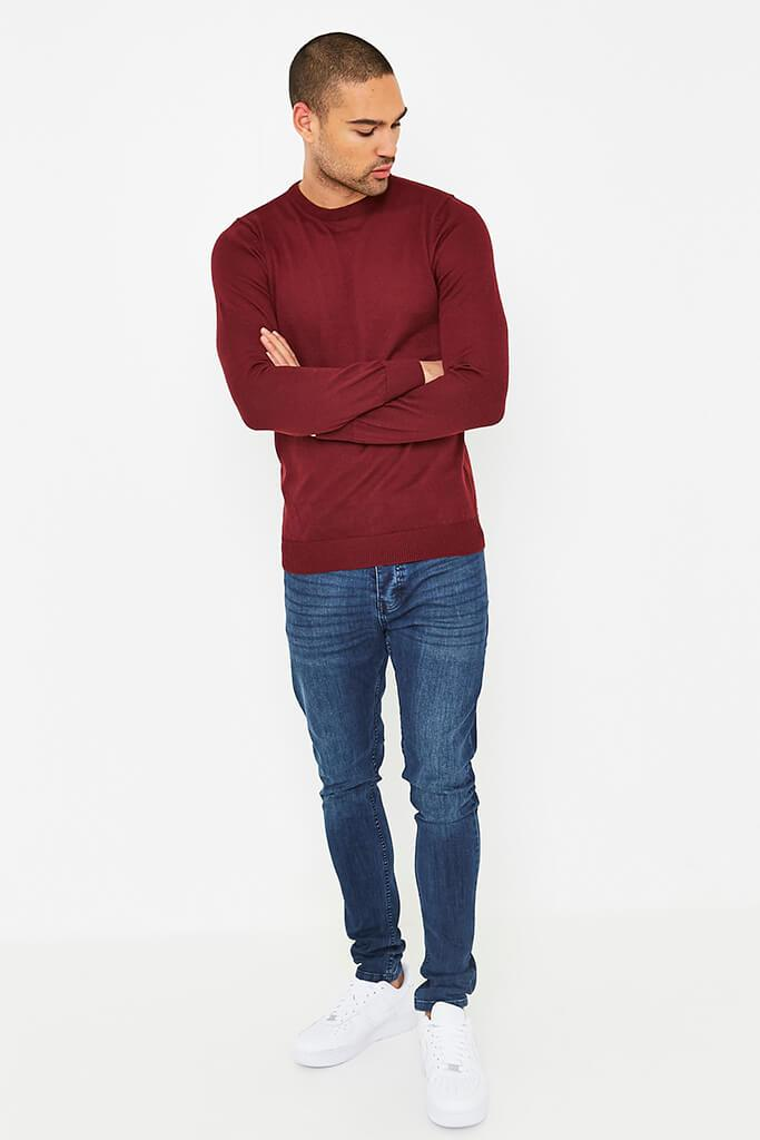 Burgundy Men's Plain Ribbed Neck Jumper view 2