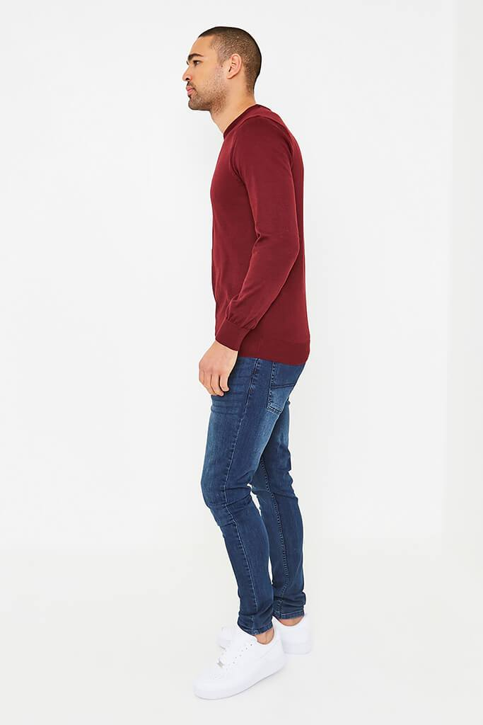 Burgundy Men's Plain Ribbed Neck Jumper view 3
