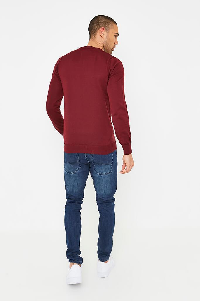 Burgundy Men's Plain Ribbed Neck Jumper view 4