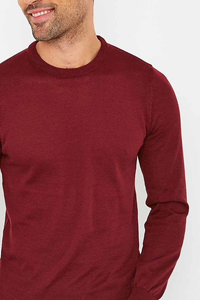 Burgundy Men's Plain Ribbed Neck Jumper view 5