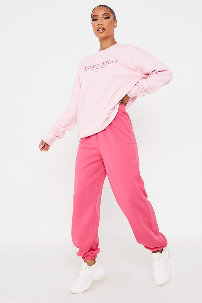 Baby Pink Ye Saint Slogan Oversized Crew Neck Sweatshirt view 2