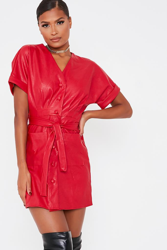 Red Faux Leather Short Sleeve Belted Utility Dress view 3