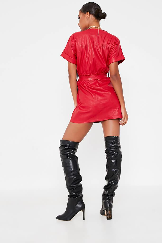 Red Faux Leather Short Sleeve Belted Utility Dress view 4