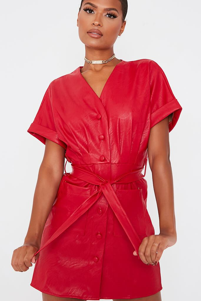 Red Faux Leather Short Sleeve Belted Utility Dress view 5
