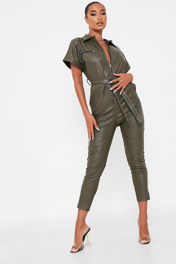 Khaki Faux Leather Short Sleeve Belted Utility Jumpsuit view main view