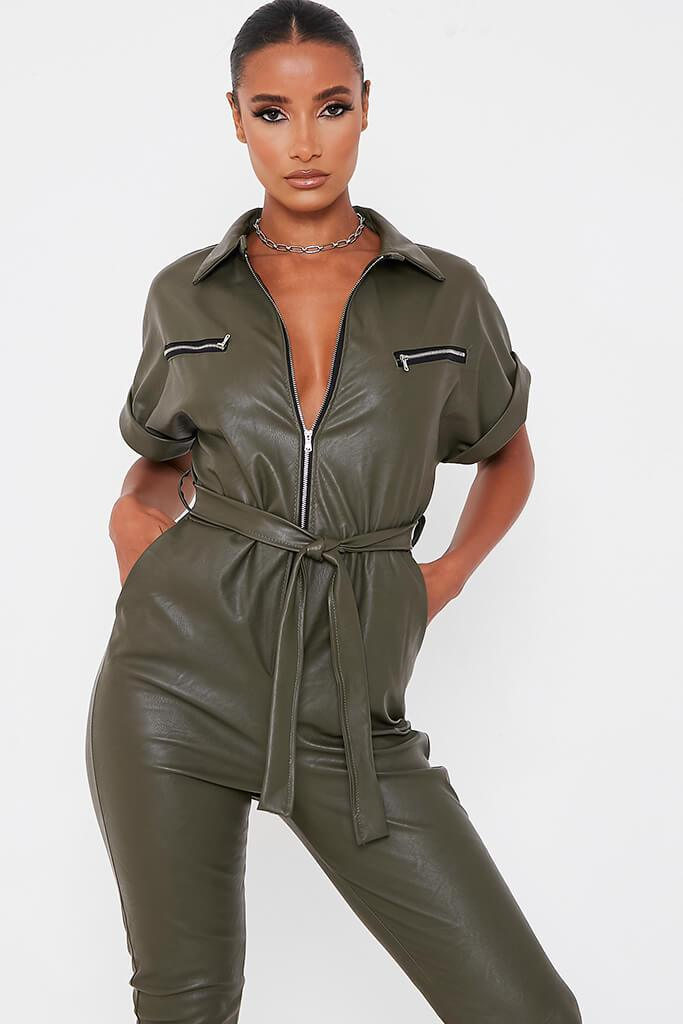Khaki Faux Leather Short Sleeve Belted Utility Jumpsuit view 2