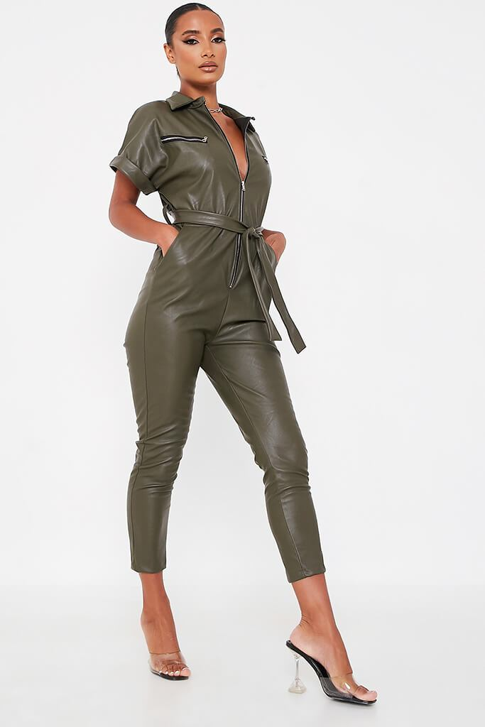 Khaki Faux Leather Short Sleeve Belted Utility Jumpsuit view 3