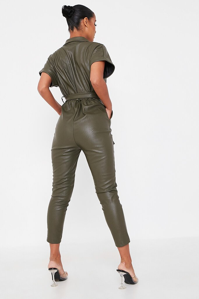 Khaki Faux Leather Short Sleeve Belted Utility Jumpsuit view 4