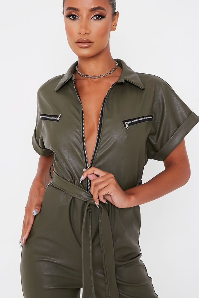 Khaki Faux Leather Short Sleeve Belted Utility Jumpsuit view 5