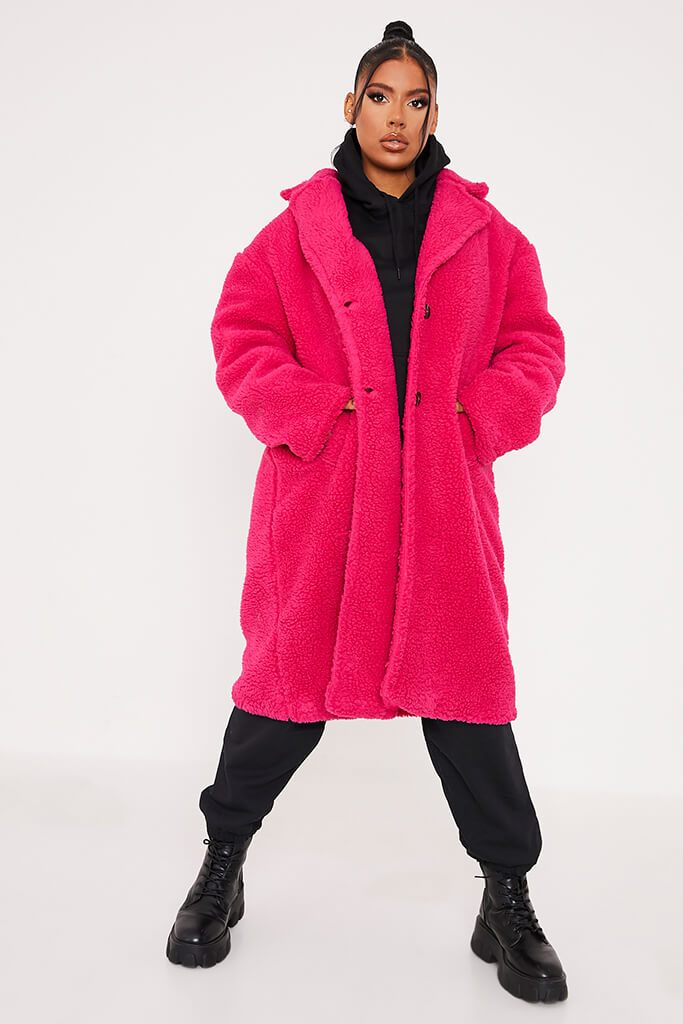 Hot Pink Long Line Borg Coat view 2