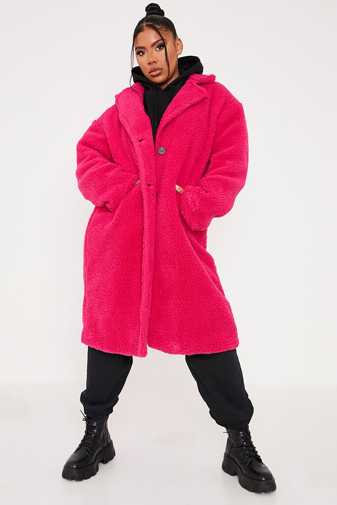 Hot Pink Long Line Borg Coat view main view