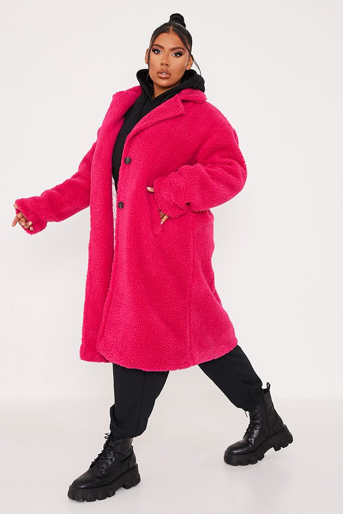 Hot Pink Long Line Borg Coat view 3