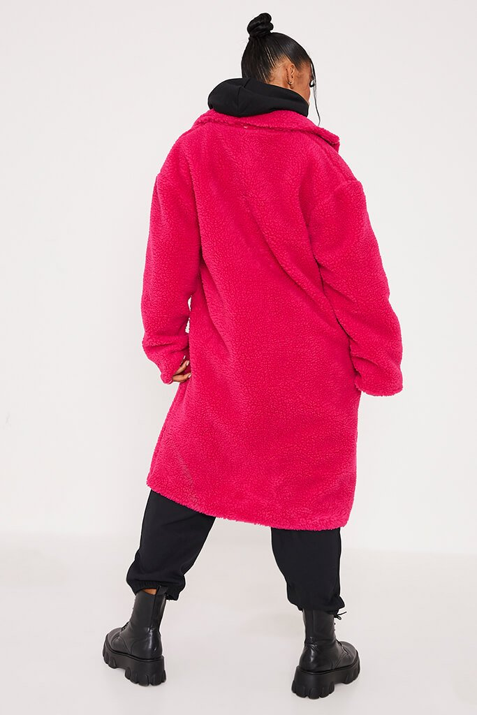 Hot Pink Long Line Borg Coat view 4