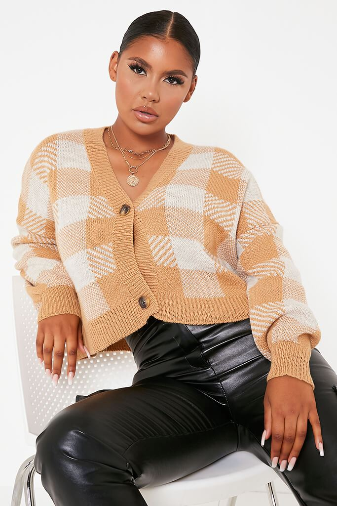 Camel Oversized Button Through Checked Cardigan