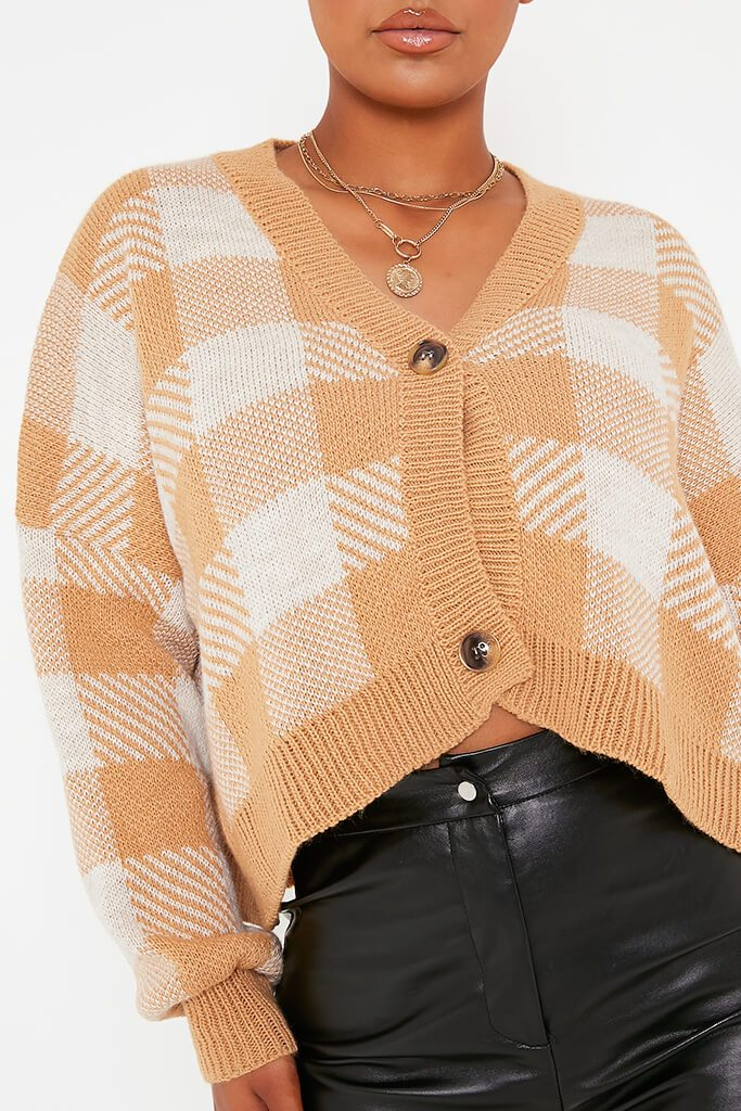 Camel Oversized Button Through Checked Cardigan view 5