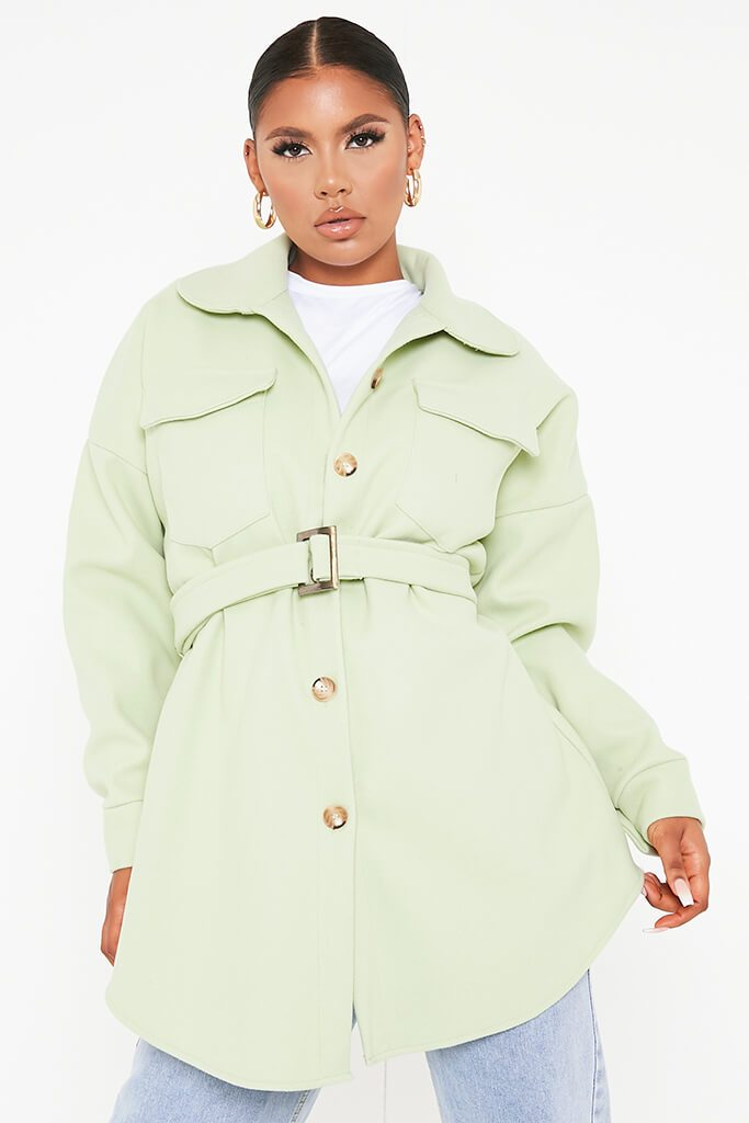 Sage Belted Shacket view main view