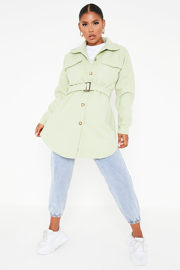 Sage Belted Shacket view 2