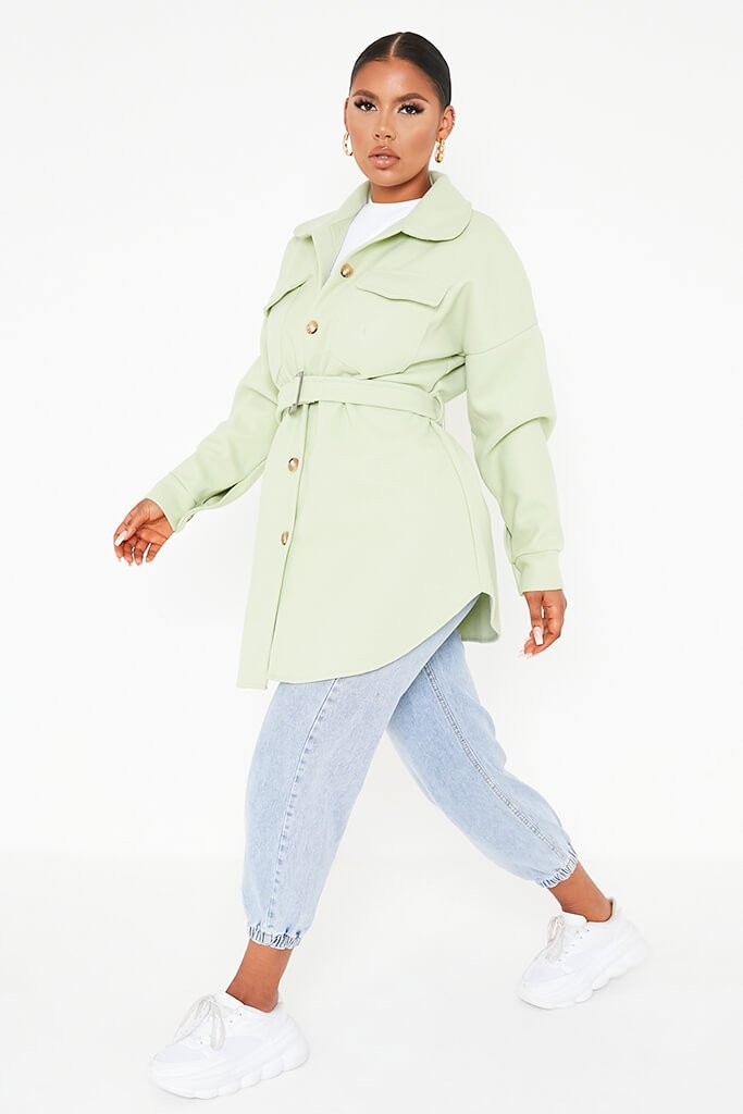 Sage Belted Shacket view 3