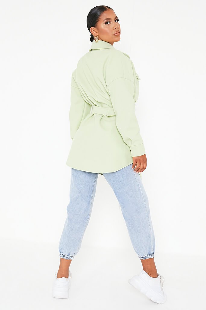 Sage Belted Shacket view 4