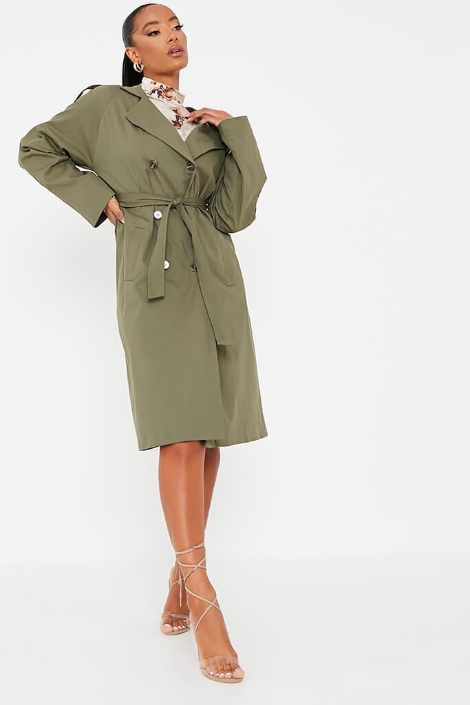 Khaki Belted Trench Coat view 3