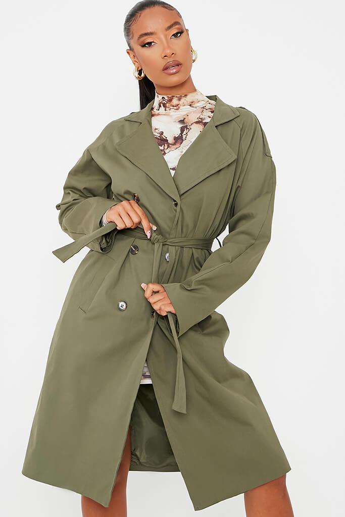 Khaki Belted Trench Coat view 2