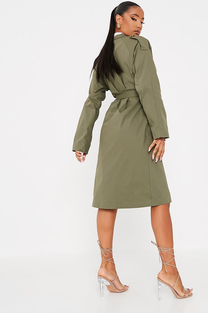 Khaki Belted Trench Coat view 4