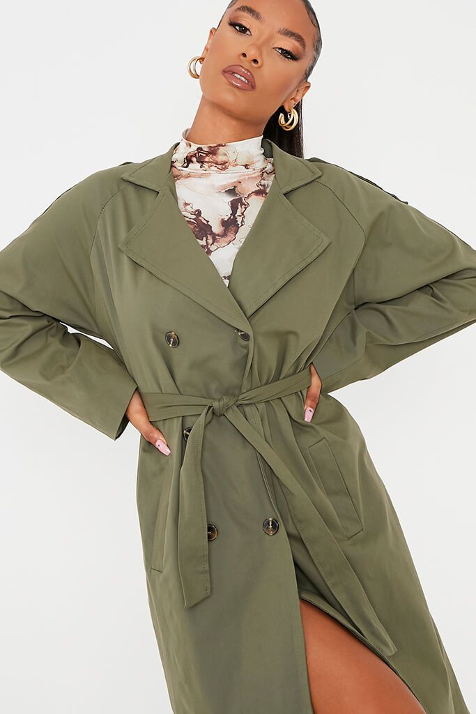 Khaki Belted Trench Coat view 5