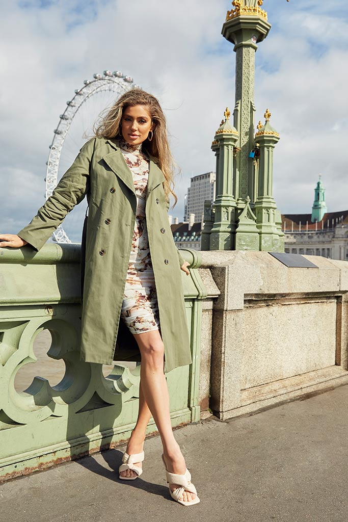 Khaki Belted Trench Coat view main view