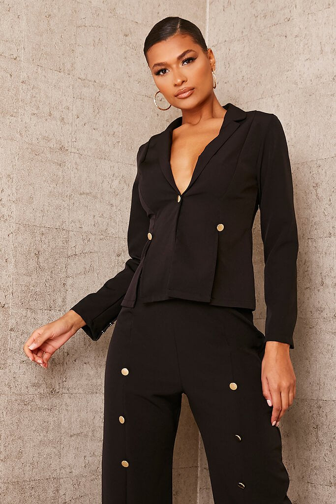 Black Buttoned Split Detail Blazer