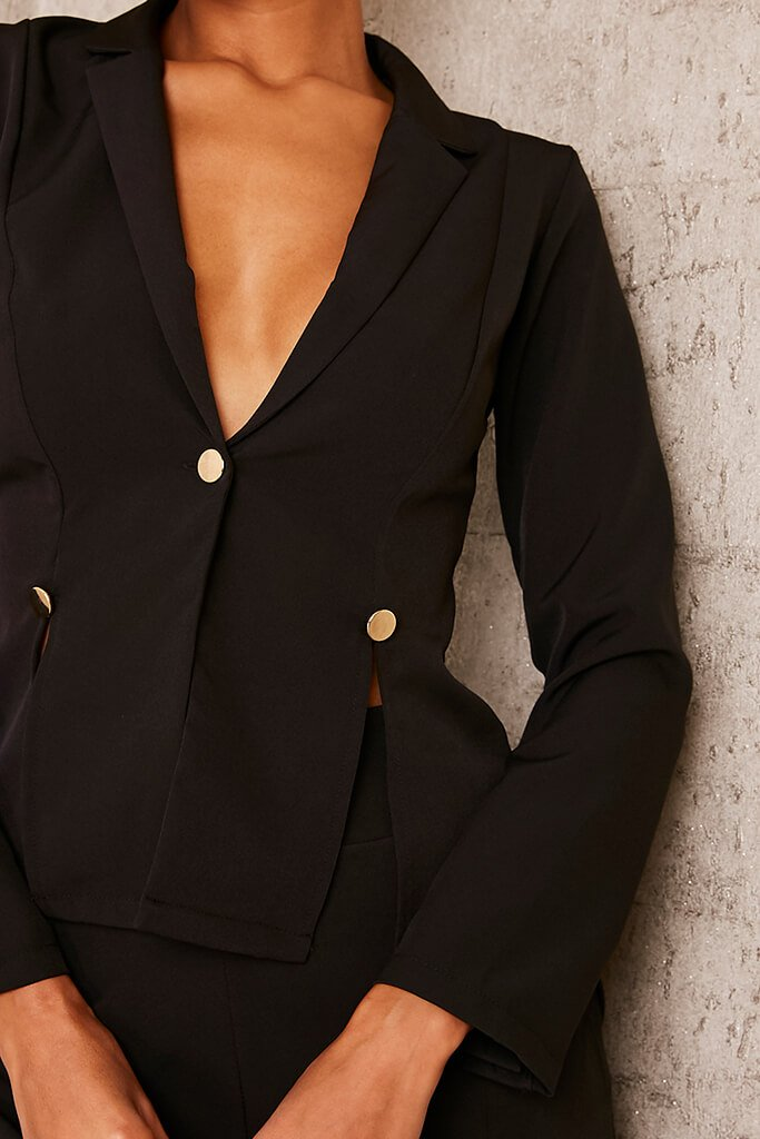 Black Buttoned Split Detail Blazer view 5