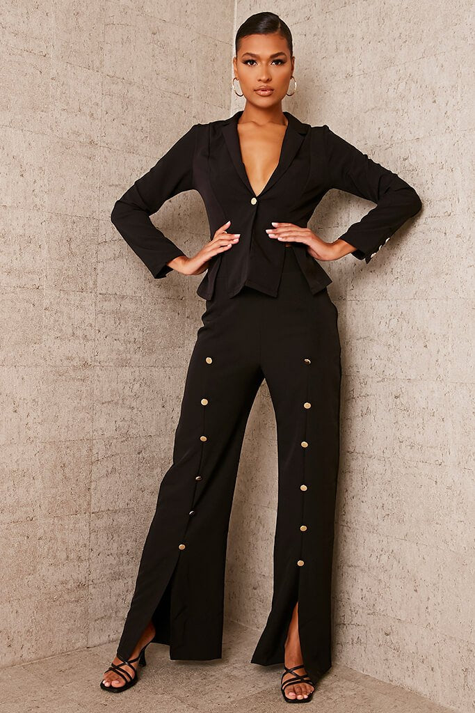 Black Buttoned Split Front Trousers