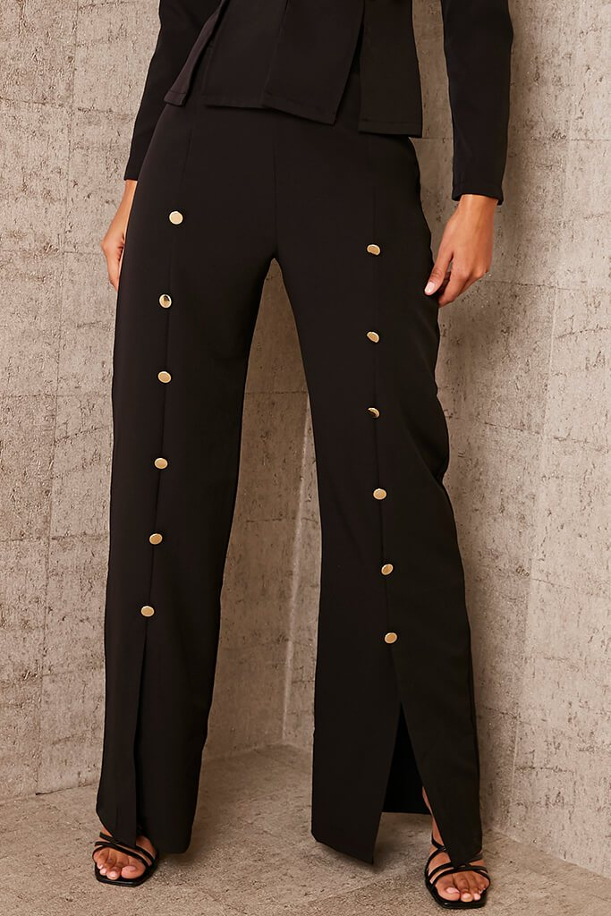 Black Buttoned Split Front Trousers view 2