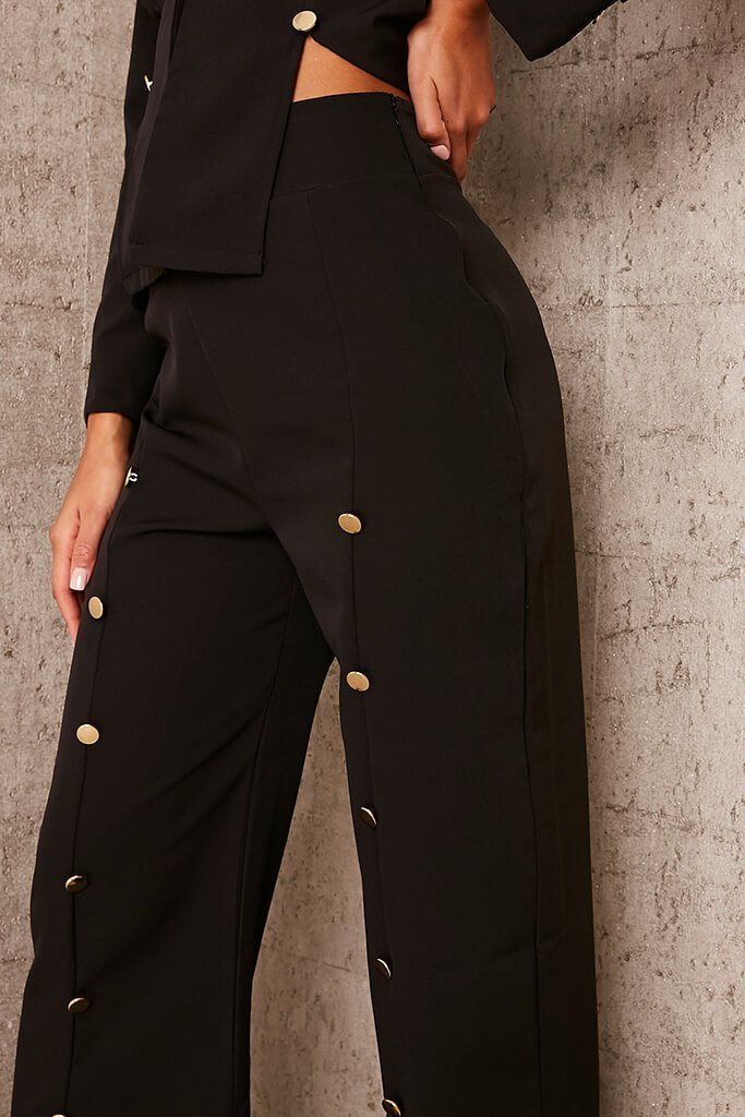 Black Buttoned Split Front Trousers view 5