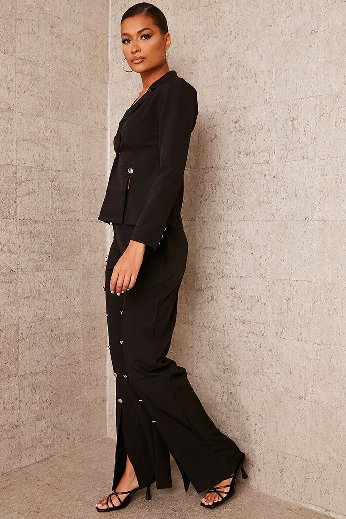 Black Buttoned Split Front Trousers view 3