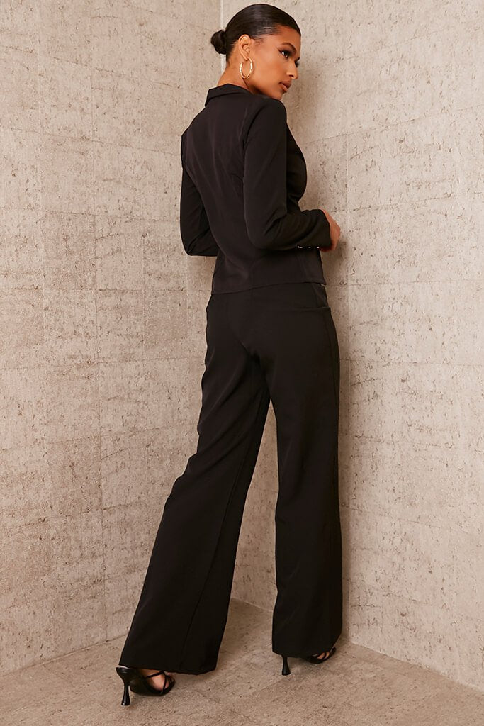 Black Buttoned Split Front Trousers view 4