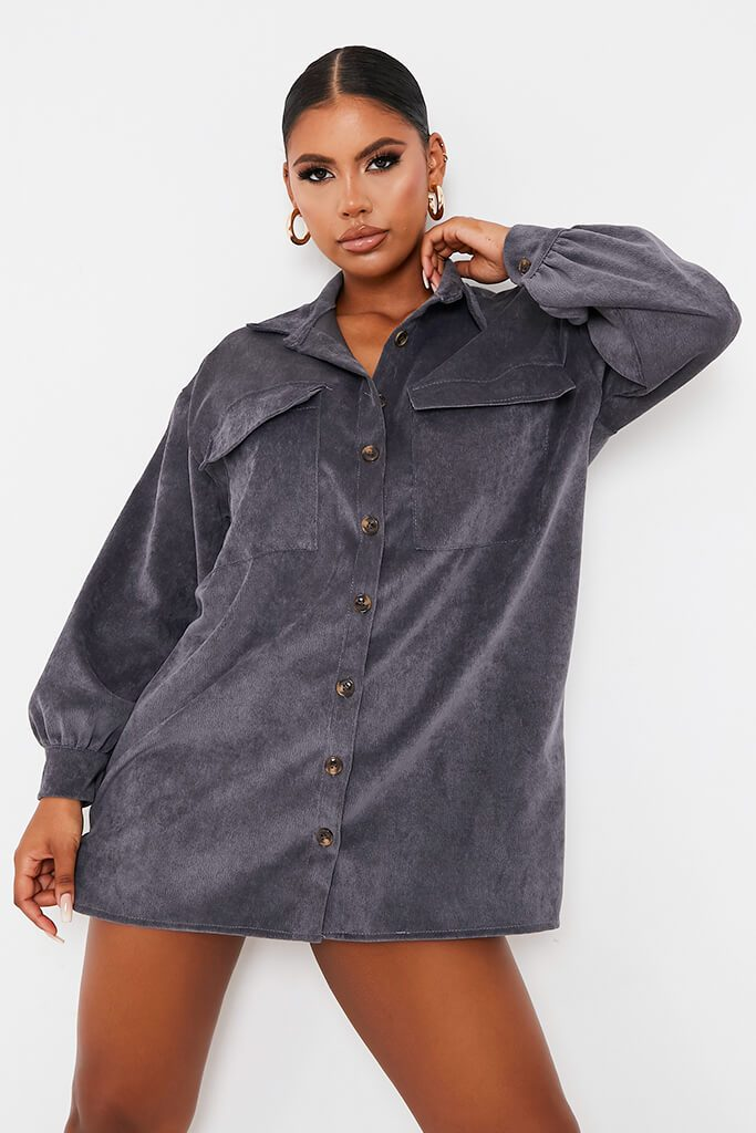 Grey Cord Pocket Detail Oversized Shirt Dress view 2