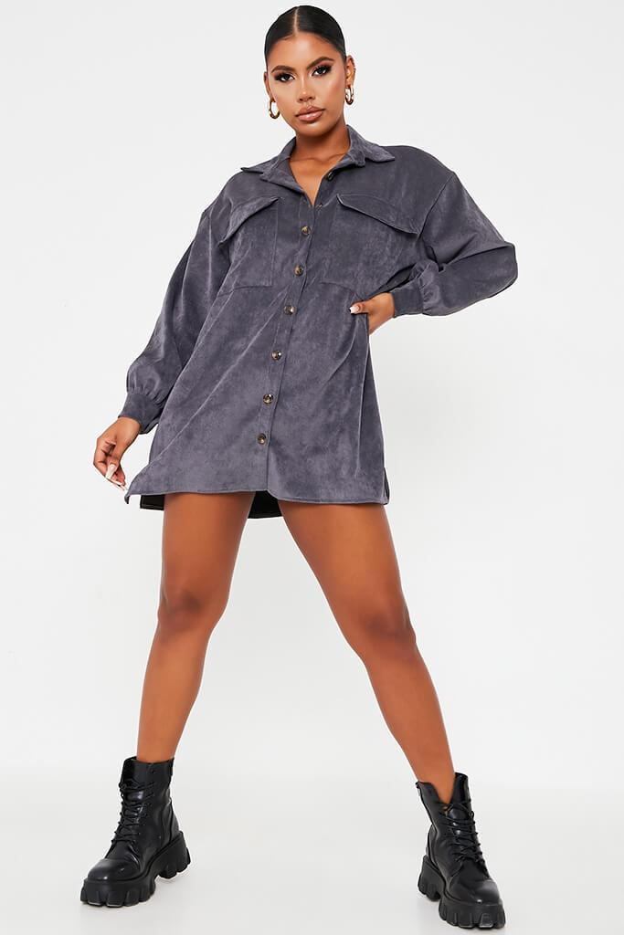 Grey Cord Pocket Detail Oversized Shirt Dress view 3