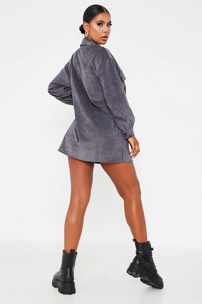 Grey Cord Pocket Detail Oversized Shirt Dress view 4