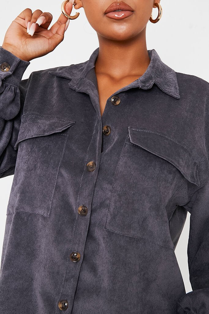 Grey Cord Pocket Detail Oversized Shirt Dress view 5