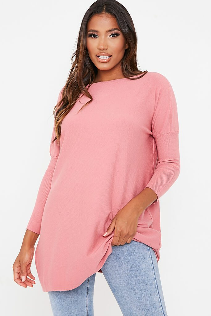 Rose Oversized Longline Batwing Jumper view main view
