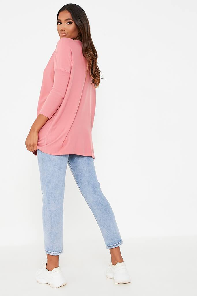 Rose Oversized Longline Batwing Jumper view 4